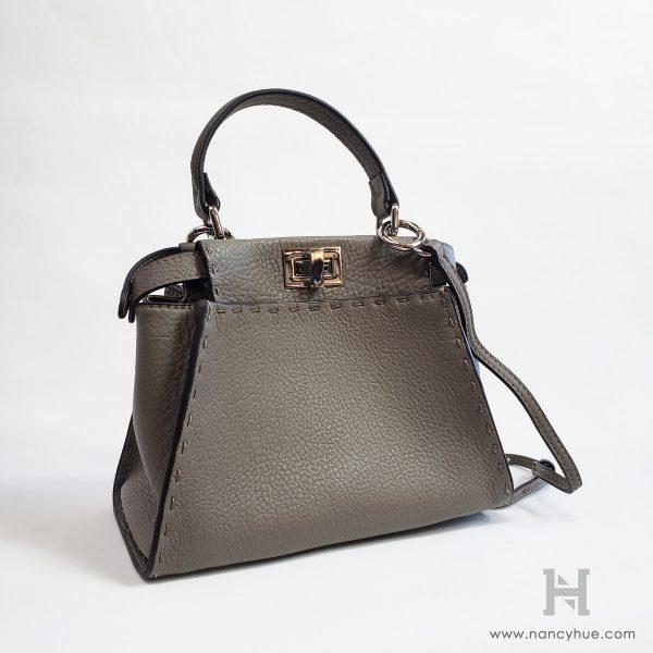 Nancy-Hue-Gander-Mini-Bag-Pebbled-Grey-Detachable Strap