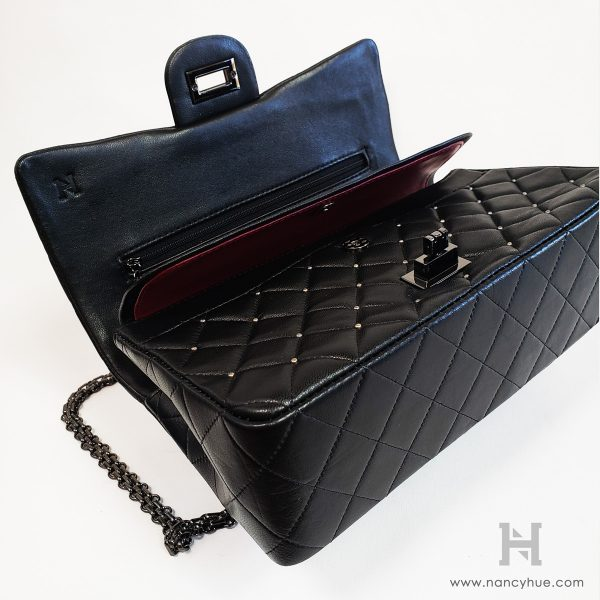 Nancy Hue Matlasse Bag Studded Black