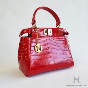 Gander Mini Bag - Exotic Red with Chain - Nancy Hue Leather Bags