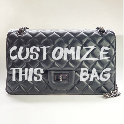Custom Classic Flap Bag - White Text - Nancy Hue custom Leather bag