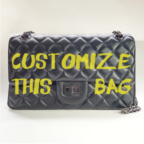 Custom Classic Flap Bag - Yellow Text