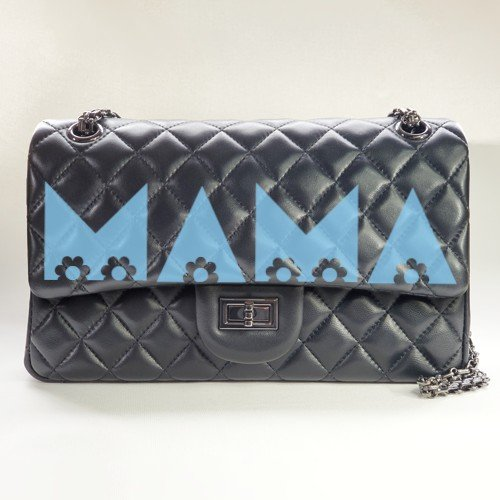 mama flowers - blue - personalized leather classic flap bag