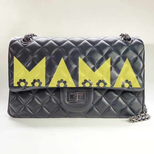 mama flowers- yellow - personalized leather classic flap bag