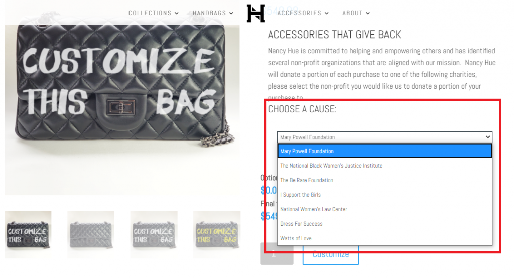 Nancy Hue Empower with Handbags and Give Back