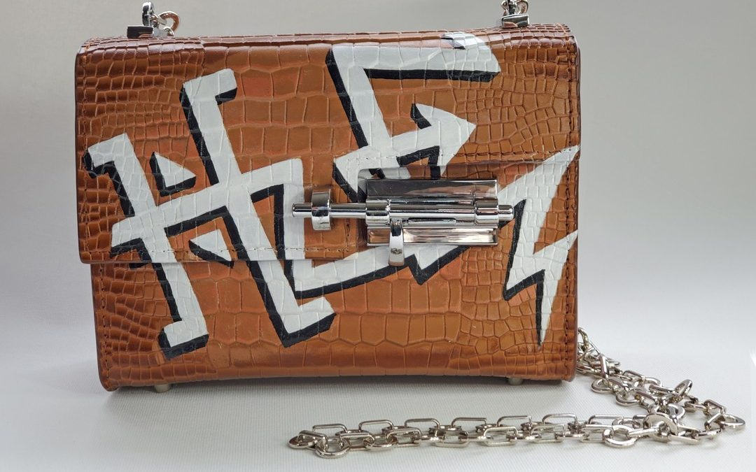 Closeup of a custom design. Nancy Hue offers one of a kind handbags – our team will make you a Personalized 1-on-1 bespoke handbag design