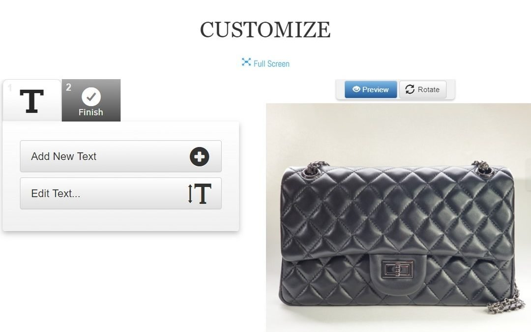 Customize your handbag in a few minutes with instant preview! Add text, choose font and text color and we'll do the rest!