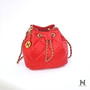 Matelassé Bucket Bag – Red
