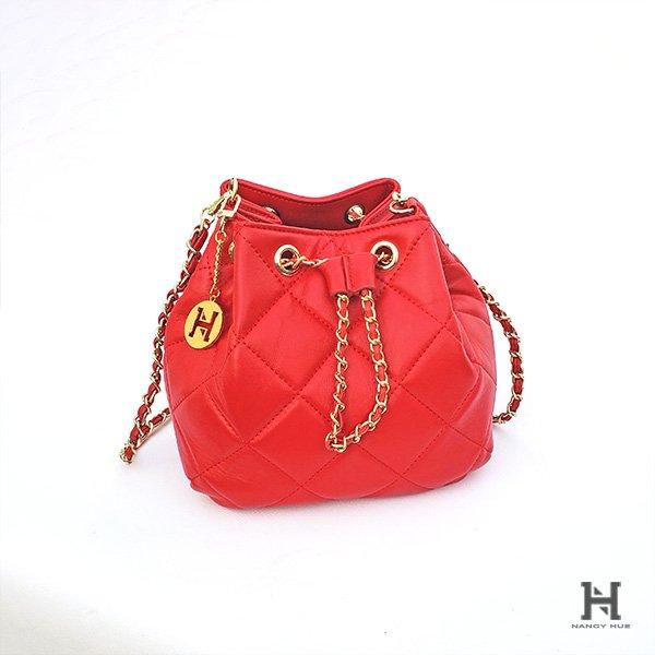 Matelassé Bucket Bag – Red