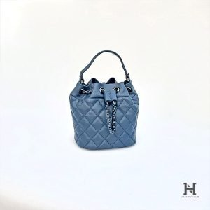 Mini Matelassé Bucket Bag - Blue