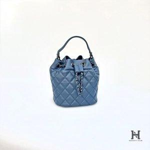 Mini Matelassé Bucket Bag - Blue
