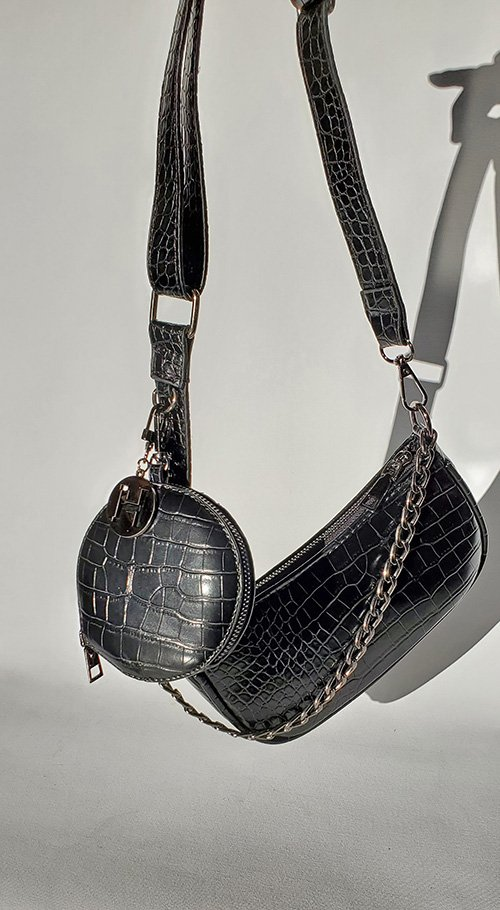 black croc vegan bag crossbody accessories