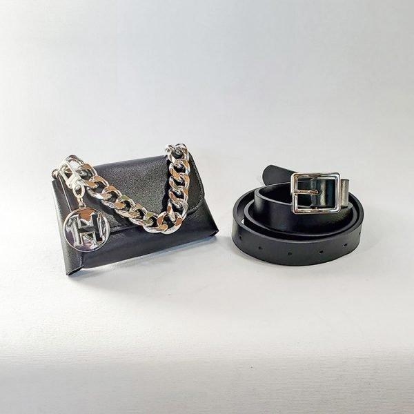 black vegan chain belt bag