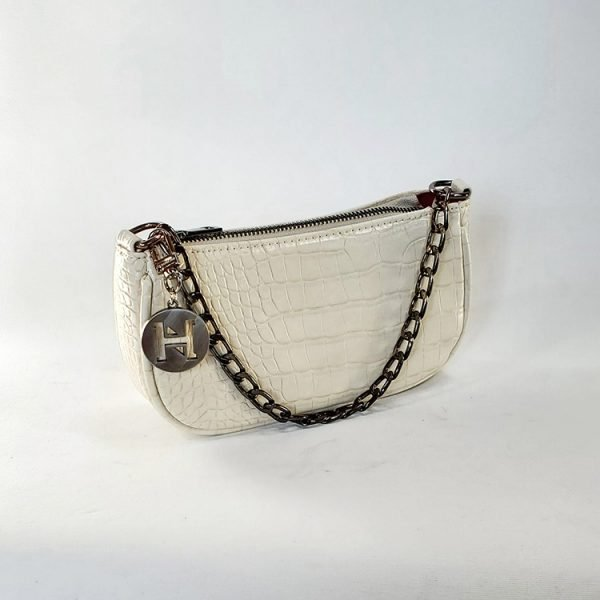 white croc vegan pouch bag