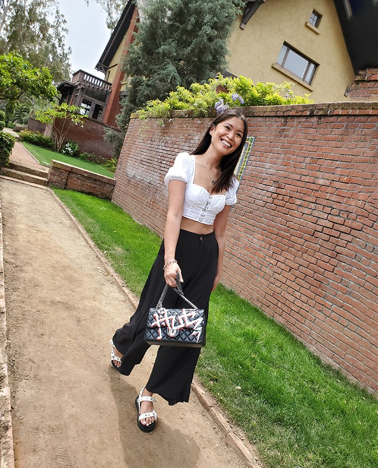 Enroute to the Garden Party with the Nancy Hue Painted Leather Bag